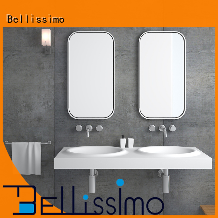 Bellissimo best sink material with towel shelf for hotel
