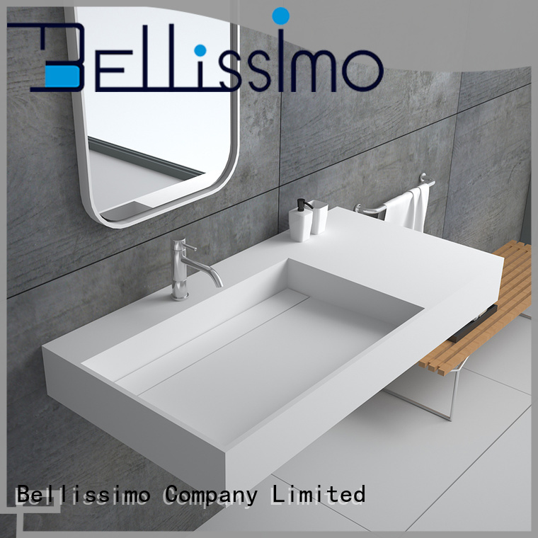 Bellissimo solid surface wash basin with towel shelf for bathroom
