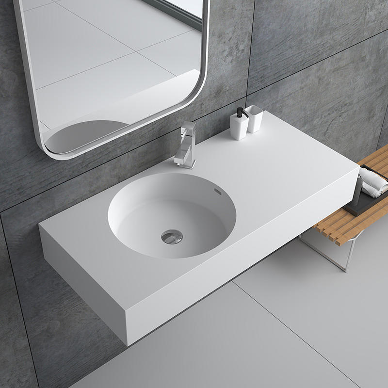 Bellissimo-Best Solid Surface Resin Stone Wall Mounted Basin Bs-8417