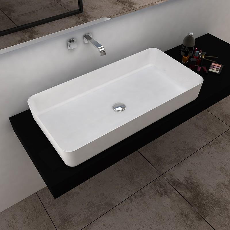 Bellissimo-Solid Surface Resin Stone Counter Top Basin Bs-8350 | Solid Surface Countertop