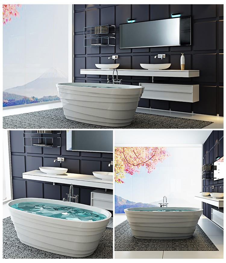 Bellissimo-High-quality Solid Surface Resin Stone Bathtub Bs-8631 Factory-2