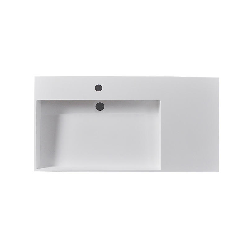 Bellissimo-Wall Mounted Wash Basins, Rectangular Design One Body Style Solid Surface
