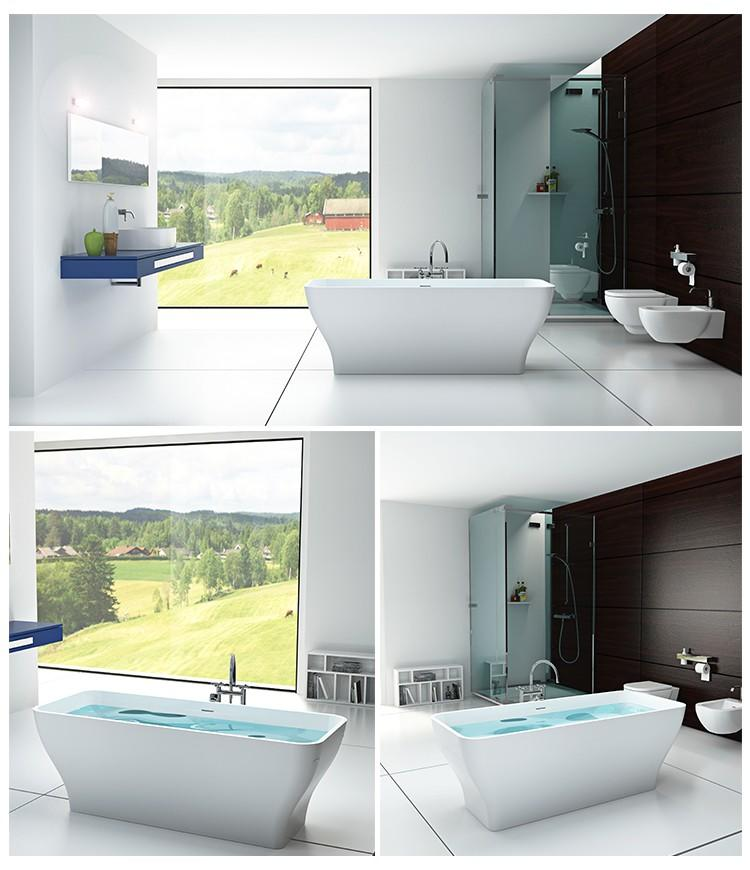Bellissimo-High-quality Solid Surface Resin Stone Bathtub Bs-8640 Factory-2