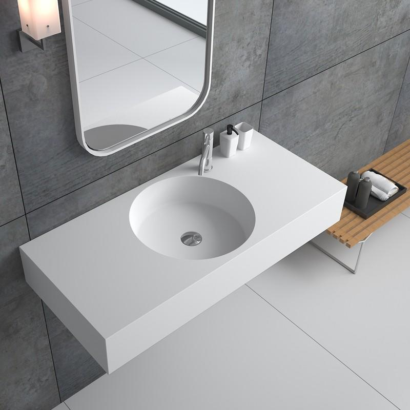 Bellissimo-Best Solid Surface Resin Stone Wall Mounted Basin Bs-8416 Manufacture
